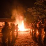 Scout fire camp in Indonesia